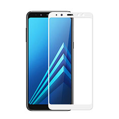 Schutzfolie Full Coverage Displayschutzfolie Panzerfolie Skins zum Aufkleben Gehärtetes Glas Glasfolie für Samsung Galaxy A8 (2018) A530F Weiß