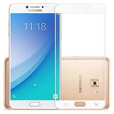 Schutzfolie Full Coverage Displayschutzfolie Panzerfolie Skins zum Aufkleben Gehärtetes Glas Glasfolie für Samsung Galaxy C7 Pro C7010 Weiß