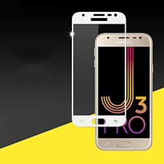 Schutzfolie Full Coverage Displayschutzfolie Panzerfolie Skins zum Aufkleben Gehärtetes Glas Glasfolie für Samsung Galaxy J3 Pro (2017) Weiß