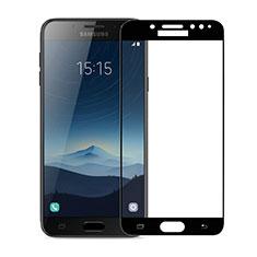Schutzfolie Full Coverage Displayschutzfolie Panzerfolie Skins zum Aufkleben Gehärtetes Glas Glasfolie für Samsung Galaxy J7 Plus Schwarz