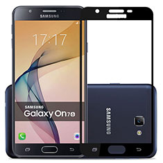 Schutzfolie Full Coverage Displayschutzfolie Panzerfolie Skins zum Aufkleben Gehärtetes Glas Glasfolie für Samsung Galaxy J7 Prime Schwarz