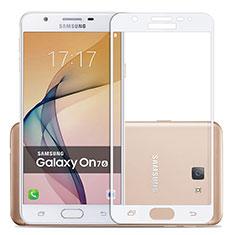 Schutzfolie Full Coverage Displayschutzfolie Panzerfolie Skins zum Aufkleben Gehärtetes Glas Glasfolie für Samsung Galaxy J7 Prime Weiß