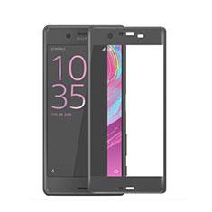 Schutzfolie Full Coverage Displayschutzfolie Panzerfolie Skins zum Aufkleben Gehärtetes Glas Glasfolie für Sony Xperia X Schwarz