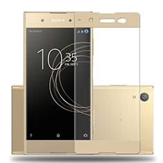 Schutzfolie Full Coverage Displayschutzfolie Panzerfolie Skins zum Aufkleben Gehärtetes Glas Glasfolie für Sony Xperia XA1 Plus Gold