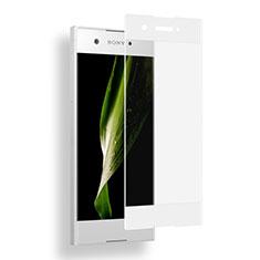 Schutzfolie Full Coverage Displayschutzfolie Panzerfolie Skins zum Aufkleben Gehärtetes Glas Glasfolie für Sony Xperia XA1 Weiß