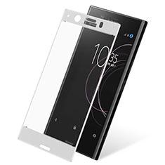 Schutzfolie Full Coverage Displayschutzfolie Panzerfolie Skins zum Aufkleben Gehärtetes Glas Glasfolie für Sony Xperia XZ1 Compact Weiß