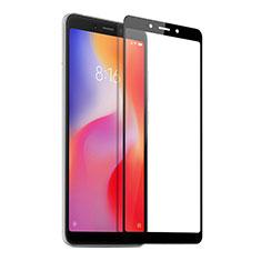 Schutzfolie Full Coverage Displayschutzfolie Panzerfolie Skins zum Aufkleben Gehärtetes Glas Glasfolie für Xiaomi Redmi 6A Schwarz