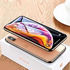 Schutzfolie Full Coverage Displayschutzfolie Panzerfolie Skins zum Aufkleben Gehärtetes Glas Glasfolie P06 für Apple iPhone Xs Max Schwarz