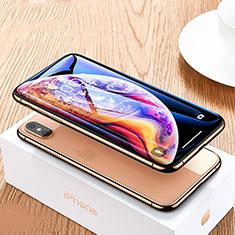 Schutzfolie Full Coverage Displayschutzfolie Panzerfolie Skins zum Aufkleben Gehärtetes Glas Glasfolie P07 für Apple iPhone Xs Max Schwarz