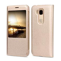 Schutzhülle Flip Tasche Leder für Huawei G7 Plus Gold