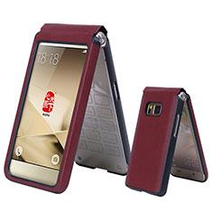 Schutzhülle Flip Tasche Leder für Samsung W(2016) Rot