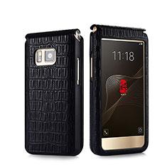 Schutzhülle Flip Tasche Leder Krokodil C01 für Samsung W(2016) Schwarz
