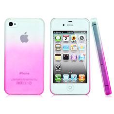 Schutzhülle Handytasche Durchsichtig Farbverlauf für Apple iPhone 4 Rosa