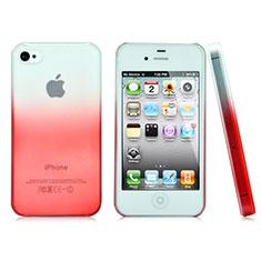 Schutzhülle Handytasche Durchsichtig Farbverlauf für Apple iPhone 4 Rot