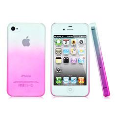 Schutzhülle Handytasche Durchsichtig Farbverlauf für Apple iPhone 4S Rosa
