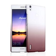 Schutzhülle Handytasche Durchsichtig Farbverlauf für Huawei Ascend P7 Braun