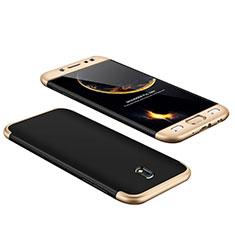 Schutzhülle Kunststoff Hülle Matt Vorder und Rückseite 360 Grad für Samsung Galaxy J7 Pro Gold und Schwarz