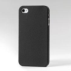 Schutzhülle Kunststoff Schutzhülle Leder für Apple iPhone 4S Schwarz