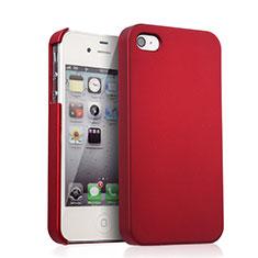 Schutzhülle Kunststoff Tasche Matt für Apple iPhone 4 Rot