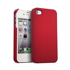 Schutzhülle Kunststoff Tasche Matt für Apple iPhone 4S Rot