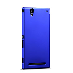 Schutzhülle Kunststoff Tasche Matt für Sony Xperia T2 Ultra Dual Blau