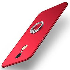 Schutzhülle Kunststoff Tasche Matt mit Fingerring Ständer A02 für Xiaomi Redmi Note 4X High Edition Rot