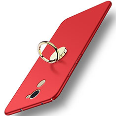 Schutzhülle Kunststoff Tasche Matt mit Fingerring Ständer A03 für Huawei Y7 Prime Rot