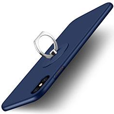 Schutzhülle Kunststoff Tasche Matt mit Fingerring Ständer für Apple iPhone Xs Blau