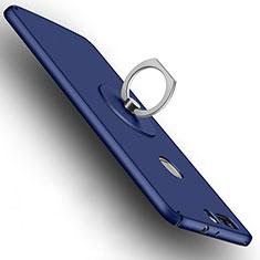 Schutzhülle Kunststoff Tasche Matt mit Fingerring Ständer für Huawei Honor V8 Blau