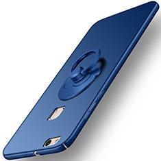 Schutzhülle Kunststoff Tasche Matt mit Fingerring Ständer für Huawei P10 Lite Blau