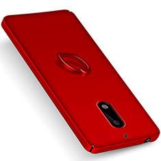 Schutzhülle Kunststoff Tasche Matt mit Fingerring Ständer für Nokia 6 Rot