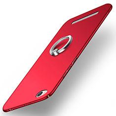 Schutzhülle Kunststoff Tasche Matt mit Fingerring Ständer für Xiaomi Redmi 3 Rot