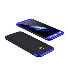 Schutzhülle Kunststoff Tasche Matt Vorder und Rückseite 360 Grad für Samsung Galaxy J7 Pro Blau und Schwarz