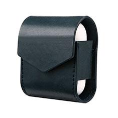 Schutzhülle Leder Hülle Skin mit Karabiner für AirPods Ladekoffer A02 Blau