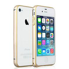 Schutzhülle Luxus Aluminium Metall Rahmen für Apple iPhone 4 Gold