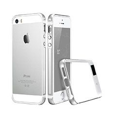 Schutzhülle Luxus Aluminium Metall Rahmen für Apple iPhone 5S Silber