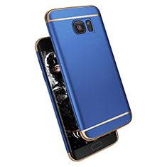 Schutzhülle Luxus Metall Rahmen und Kunststoff M02 für Samsung Galaxy S7 Edge G935F Blau