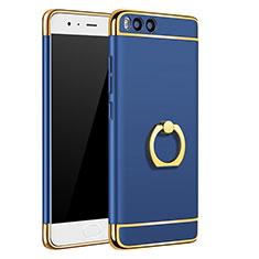 Schutzhülle Luxus Metall Rahmen und Kunststoff mit Fingerring Ständer A02 für Xiaomi Mi 6 Blau