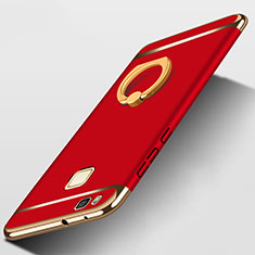 Schutzhülle Luxus Metall Rahmen und Kunststoff mit Fingerring Ständer für Huawei G9 Lite Rot