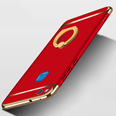 Schutzhülle Luxus Metall Rahmen und Kunststoff mit Fingerring Ständer für Huawei Honor 8 Lite Rot