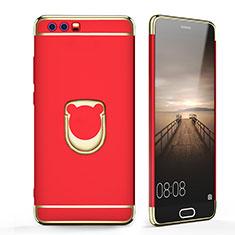 Schutzhülle Luxus Metall Rahmen und Kunststoff mit Fingerring Ständer für Huawei Honor 9 Rot