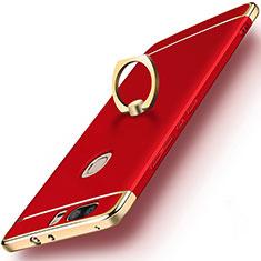Schutzhülle Luxus Metall Rahmen und Kunststoff mit Fingerring Ständer für Huawei Honor V8 Rot