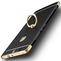 Schutzhülle Luxus Metall Rahmen und Kunststoff mit Fingerring Ständer für Huawei Honor V8 Schwarz