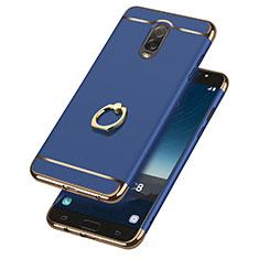 Schutzhülle Luxus Metall Rahmen und Kunststoff mit Fingerring Ständer für Samsung Galaxy C8 C710F Blau
