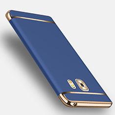 Schutzhülle Luxus Metall Rahmen und Kunststoff mit Fingerring Ständer für Samsung Galaxy C9 Pro C9000 Blau