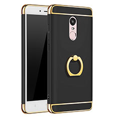 Schutzhülle Luxus Metall Rahmen und Kunststoff mit Fingerring Ständer für Xiaomi Redmi Note 4 Standard Edition Schwarz