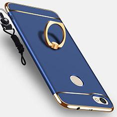 Schutzhülle Luxus Metall Rahmen und Kunststoff mit Fingerring Ständer für Xiaomi Redmi Note 5A Pro Blau