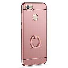 Schutzhülle Luxus Metall Rahmen und Kunststoff mit Fingerring Ständer für Xiaomi Redmi Y1 Rosegold