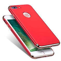 Schutzhülle Luxus Metall Rahmen und Kunststoff R01 für Apple iPhone 8 Plus Rot