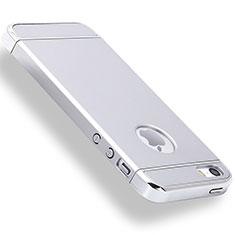 Schutzhülle Luxus Metall Rahmen und Kunststoff Schutzhülle Tasche M01 für Apple iPhone 5 Silber